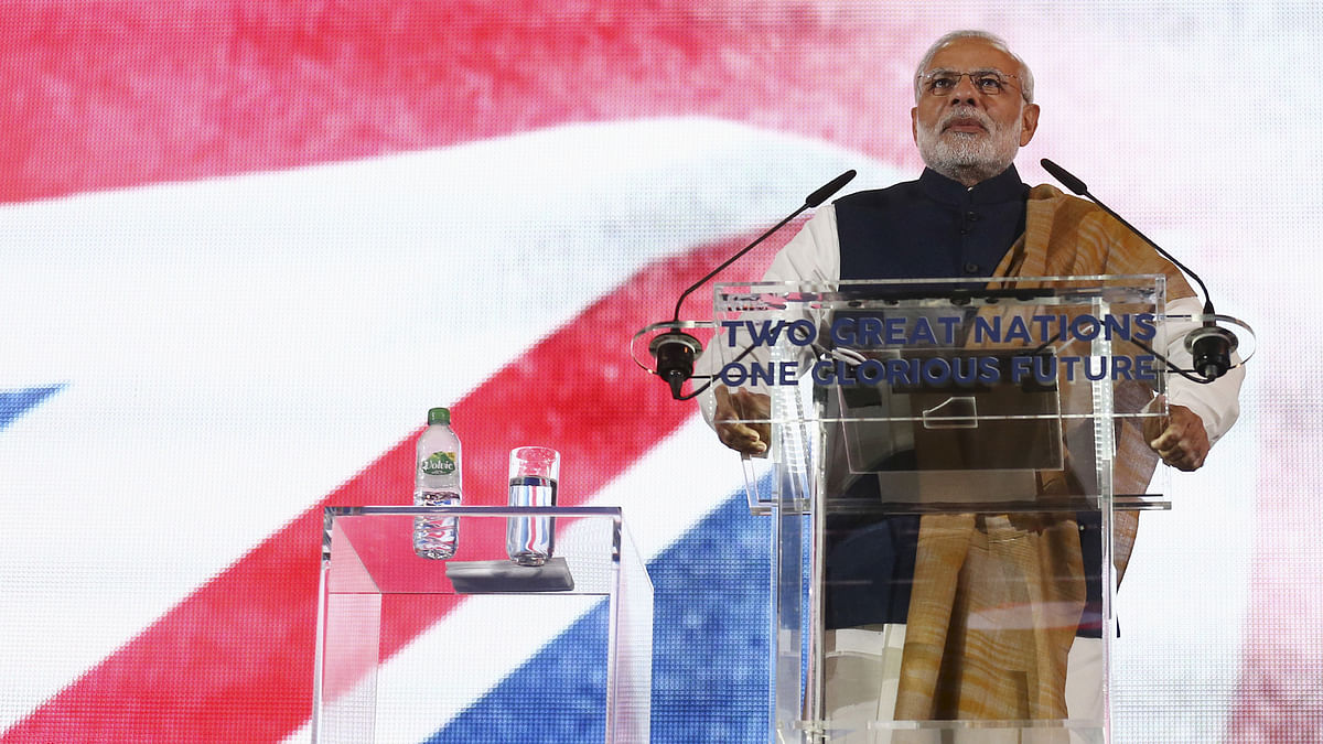 Prime Minister Narendra Modi addresses a welcome rally in his honour at Wembley Stadium in London on November 13 during his UK visit. (Photo: Reuters)