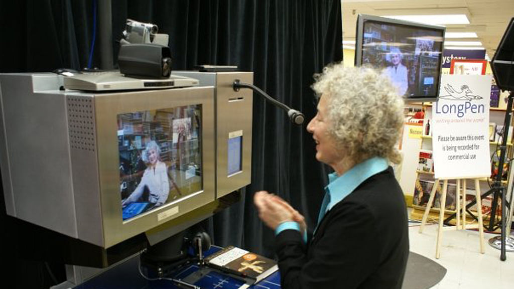 Margaret Atwood chats via LongPen with friend and fellow novelist Alice Munro.