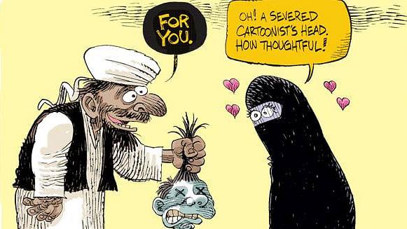 "A cartoon published after the Charlie Hebdo shooting in Paris. (Photo Courtesy: Twitter/<a href=""https://twitter.com/search?vertical=default&amp;q=%40nxrrydivxs&amp;src=typd"">@nxrrydivxs</a>)"