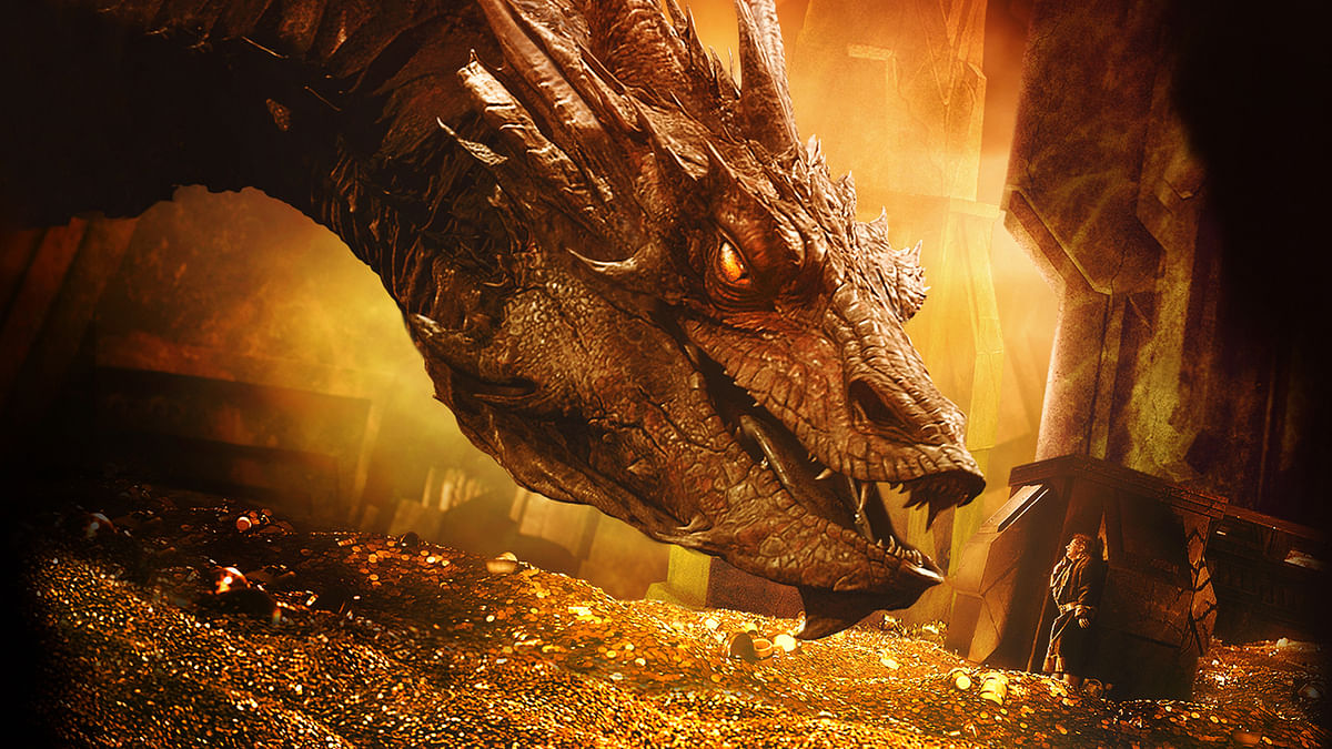 Smaug the dragon in a scene from <i>The Hobbit</i>