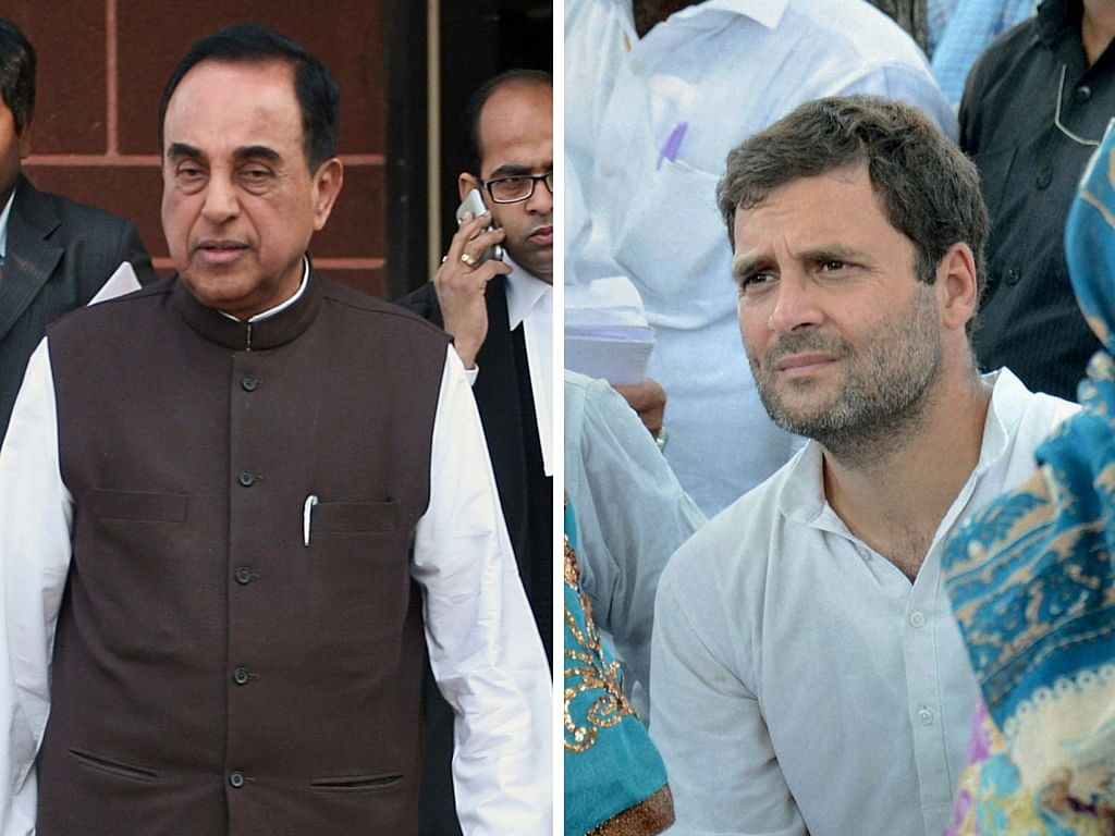 BJP leader Subramanian Swamy (left), Congress Vice President Rahul Gandhi. (Photo: Reuters)