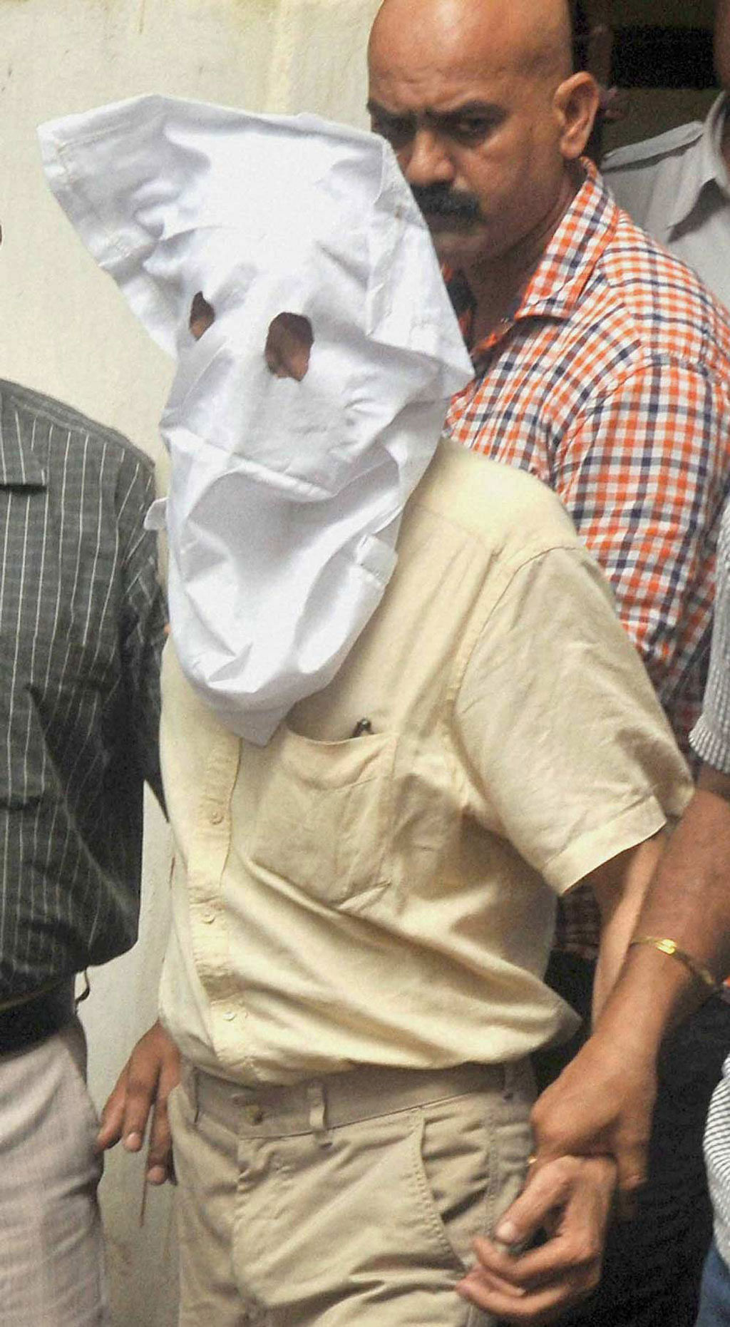 Indrani Mukerjea's second husband, Sanjeev Khanna being taken away by the police. (Photo: PTI)