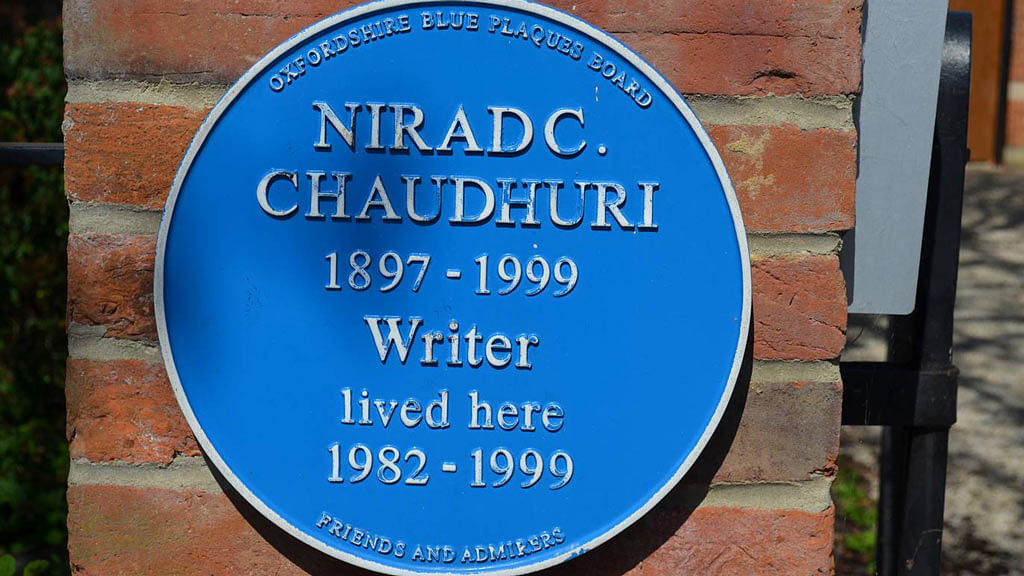 A plaque in front of Nirad C Chaudhuri's Oxfordshire home.