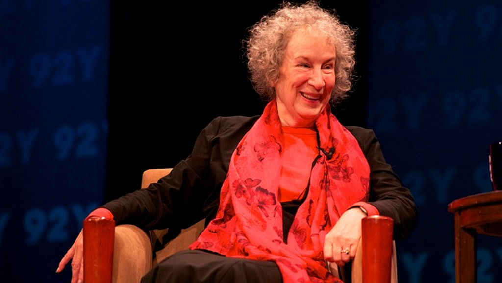 Atwood twinkles at a talk at the Unterberg Poetry Center in New York.
