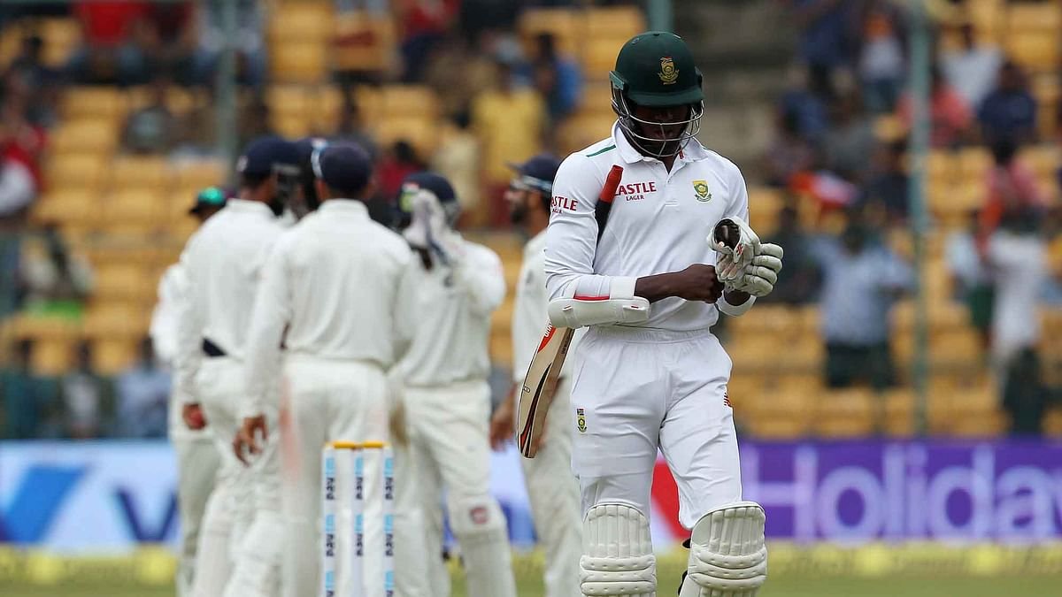 Kagiso Rabada of South Africa departs for a duck. (Photo: Ron Gaunt / BCCI / SPORTZPICS)