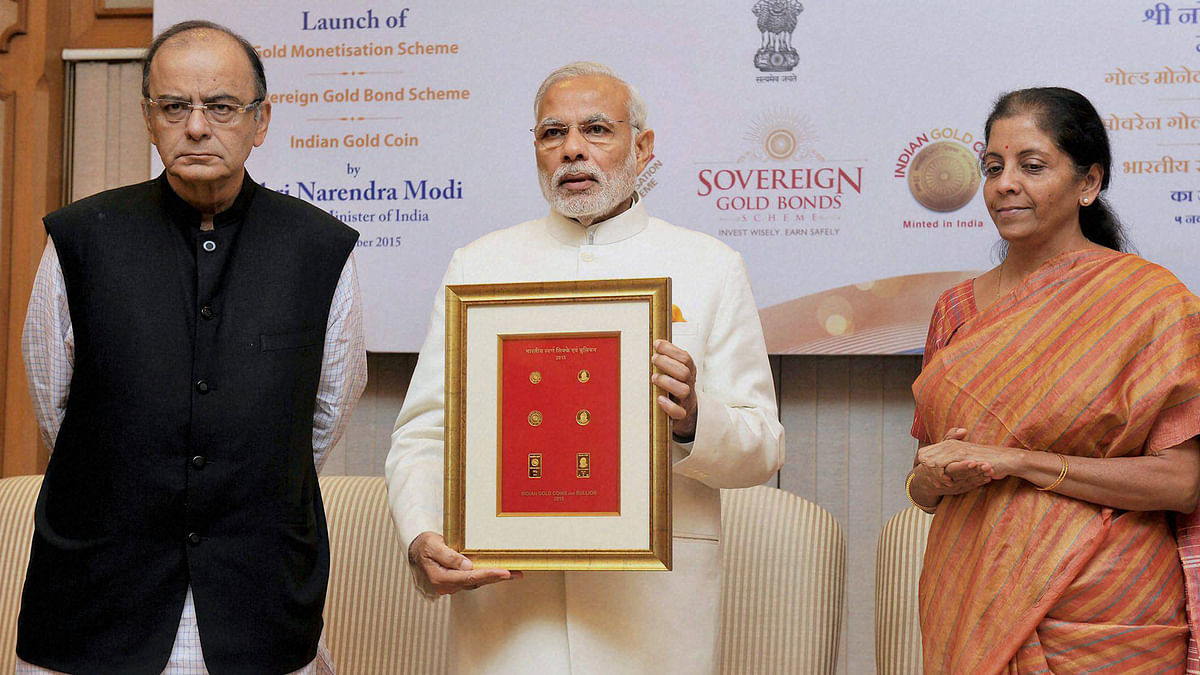 Prime Minister Narendra Modi with Union Finance Minister Arun Jaitley and the Minister of State for Commerce & Industry (Independent Charge), Nirmala Sitharaman during the launch of Government Gold schemes, in New Delhi. (Photo: PTI)