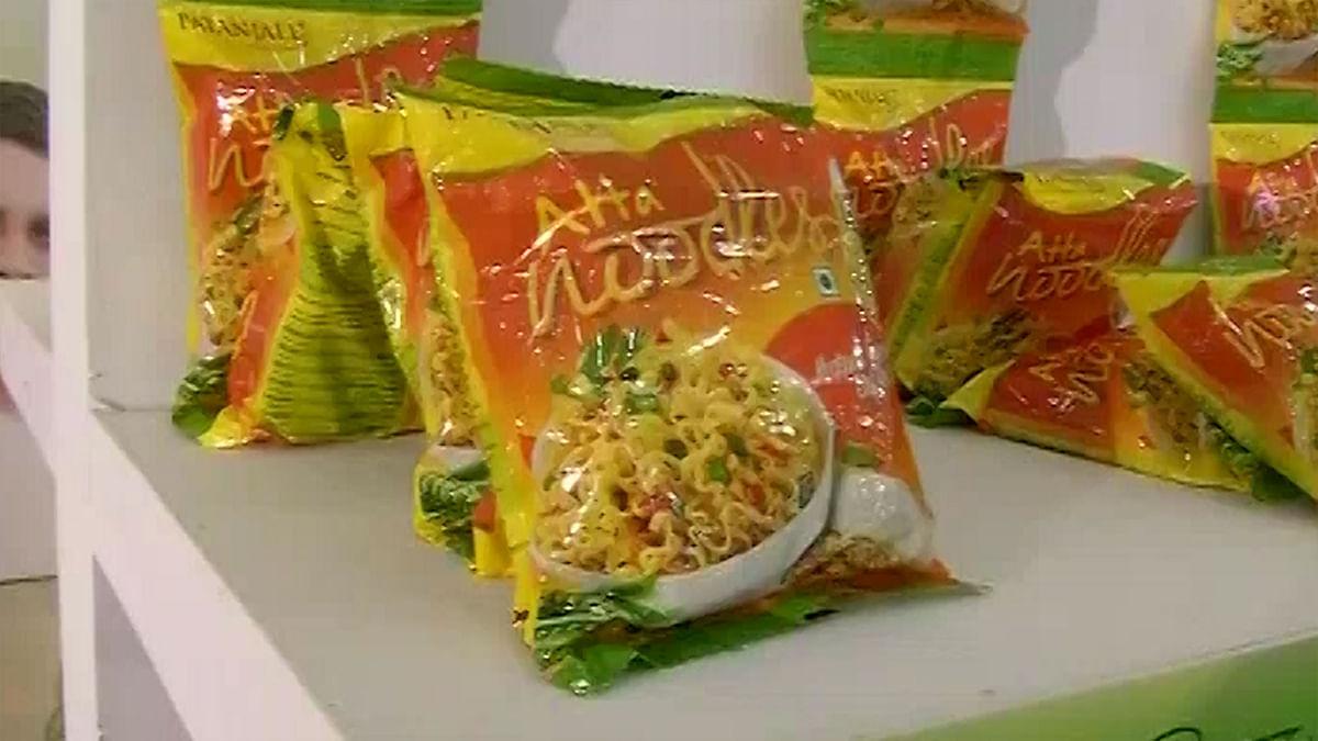 Atta noodles by Baba Ramdev's <i>Patanjali</i> <i>Ayurved</i>.