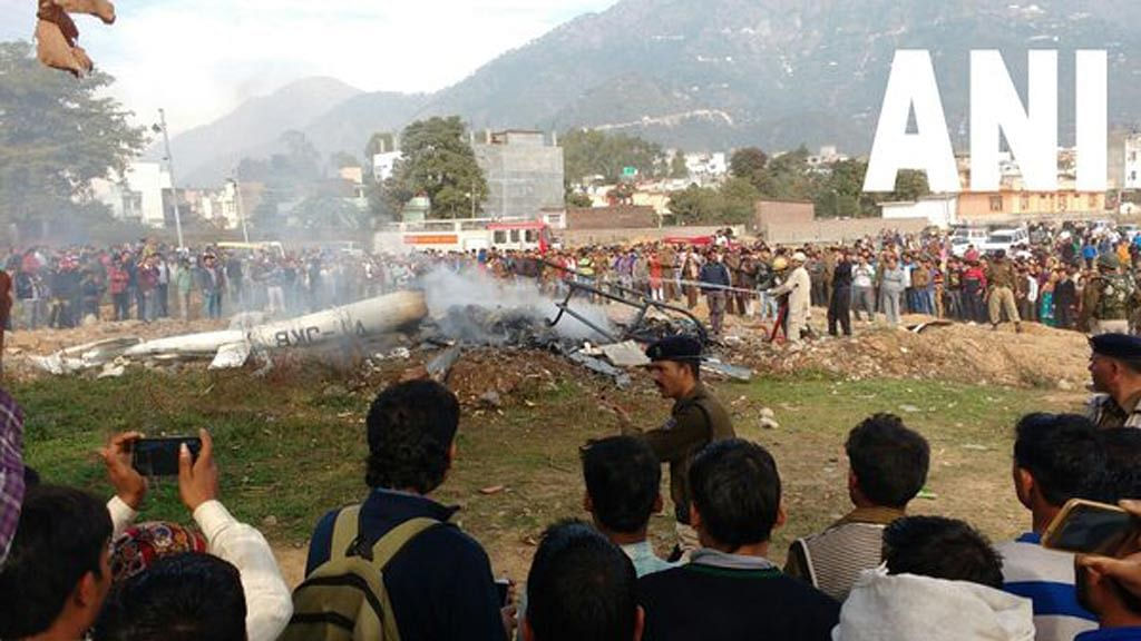 The site of the helicopter crash. (Photo Courtesy: ANI screengrab)