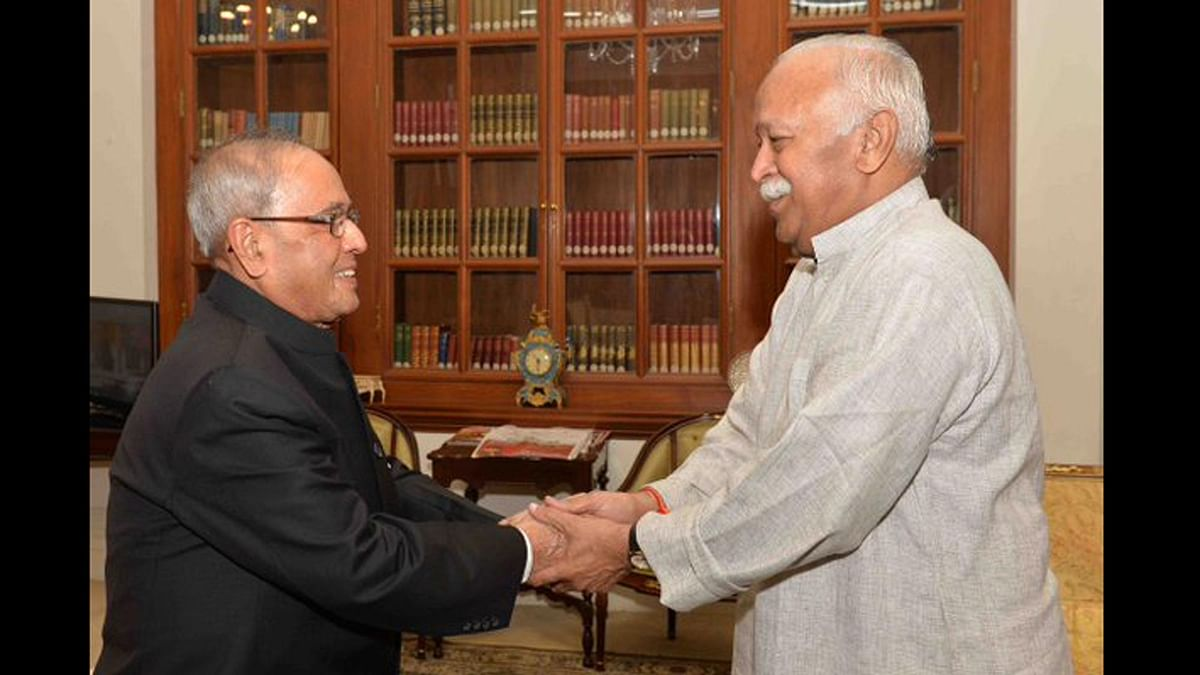 File image of former President Pranab Mukherjee and RSS chief Mohan Bhagwat.