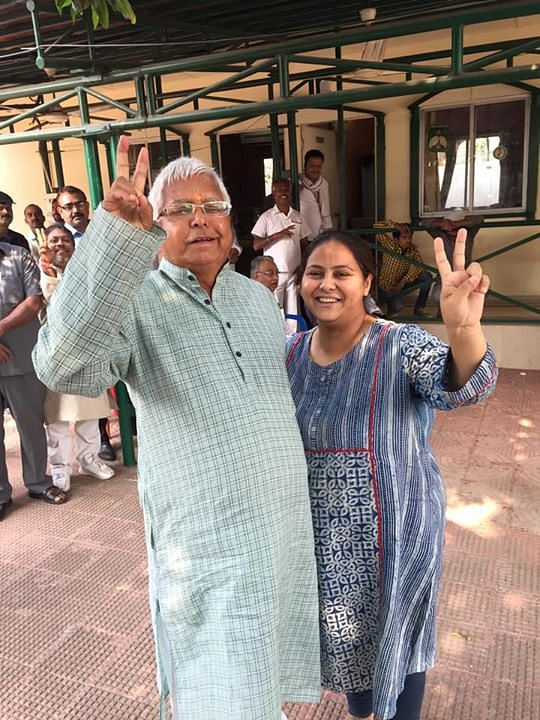 Misa Bharti is considered to be extremely close to father Lalu Prasad Yadav. Seen here at their 10 Circular Road residence in Patna after the Bihar election results. (Misa Bharti's Facebook page.)