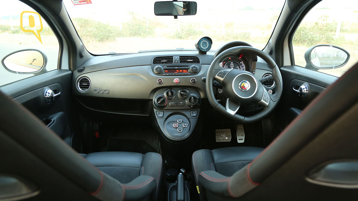 The cabin of the Fiat Abarth 595 Competizione is cozy and well built. (Photo: <b>The Quint/Siddharth Safaya</b>)