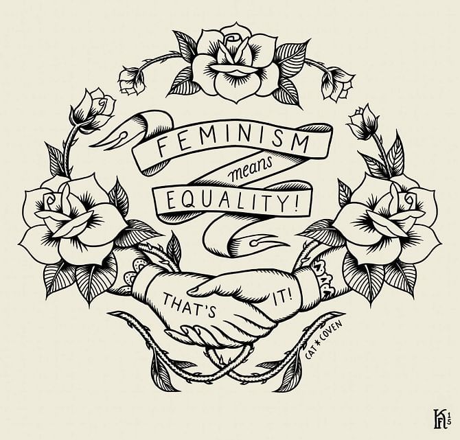 "Feminism means equalitym that's it! (Photo: <a href=""http://www.kjerstifaret.com/Feminism-Means-Equality"">www.kjerstifaret.com</a>)"