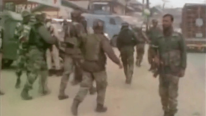Visuals from the grenade attack by militants in Jammu Kashmir's Pampore Area. (Photo: Twitter/@ANI_News)