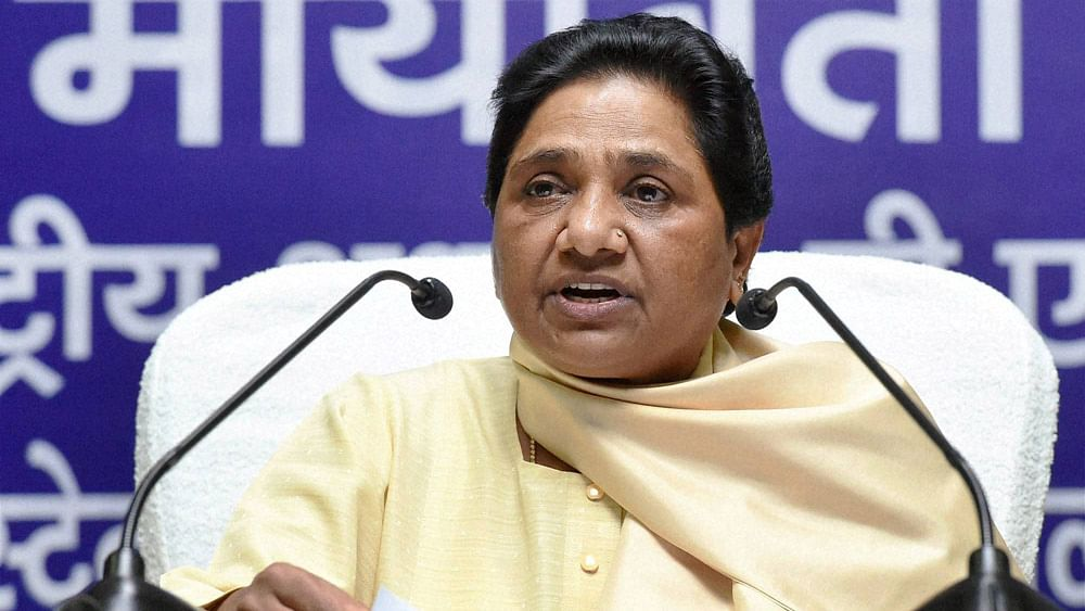 BSP supremo Mayawati addressing a press conference in Lucknow on Saturday.