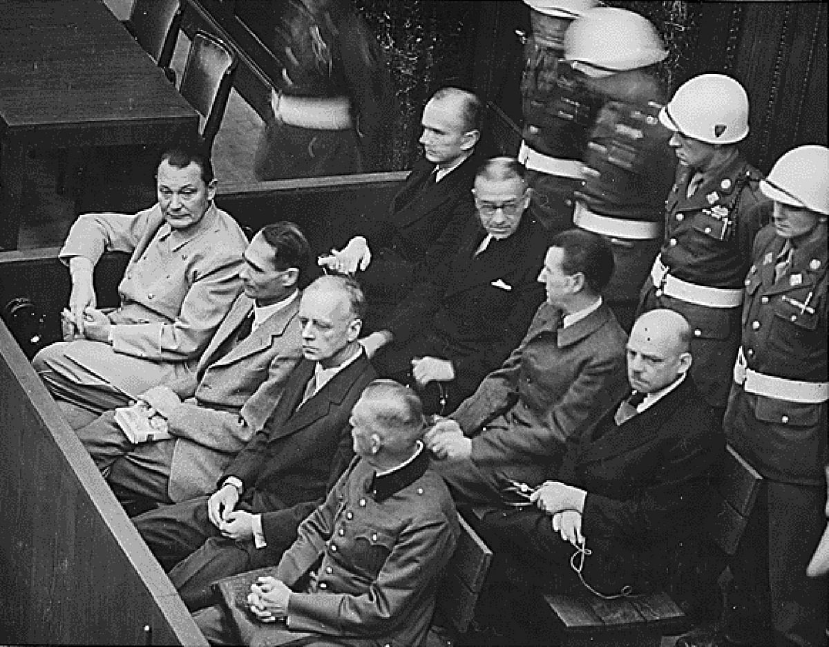 Nazi defendants (L-R front row) Hermann Goering, Rudolf Hess, Joachim von Ribbentrop and Wilhelm Keitel sit in the dock of their war crimes trial at Nuremberg circa 1945-1946. (Photo: Reuters)
