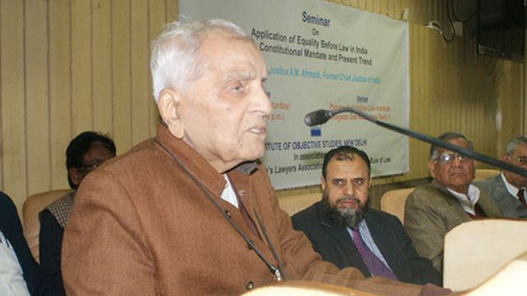 Justice Rajinder Sachar at a seminar at the Institute of Objective Studies (IOS) on January 21, 2015.