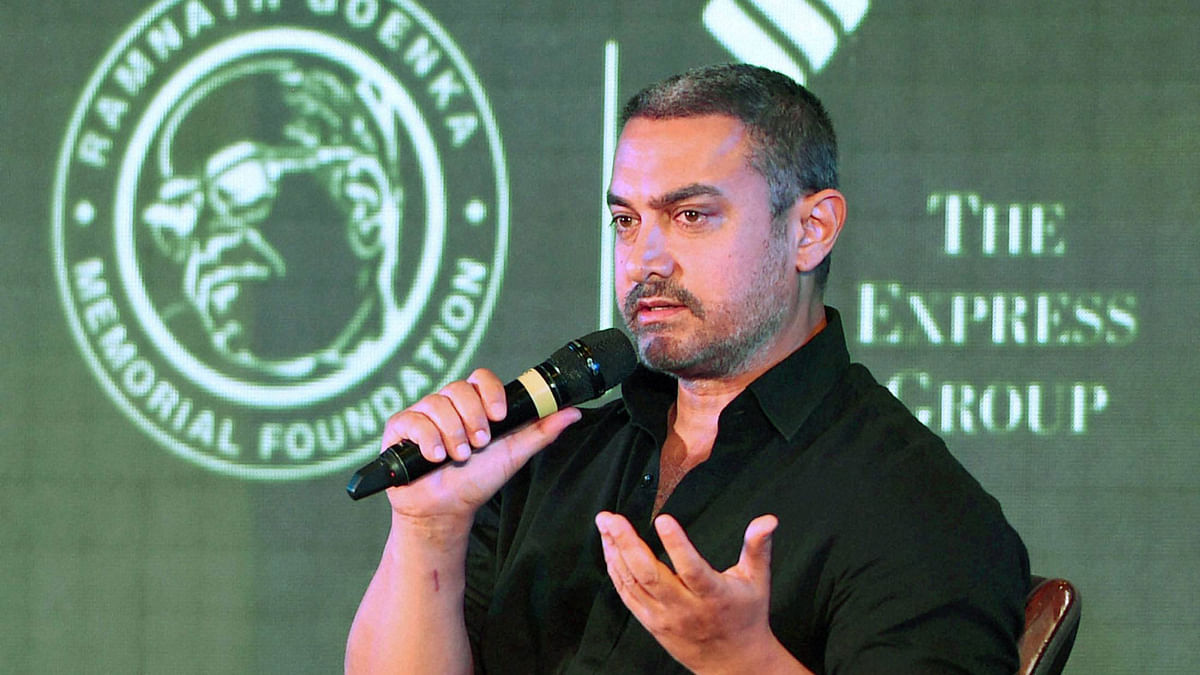 Actor Aamir Khan speaks at the 8th edition of Ramnath Goenka Excellence in Journalism Awards in New Delhi on Monday. (Photo: PTI)