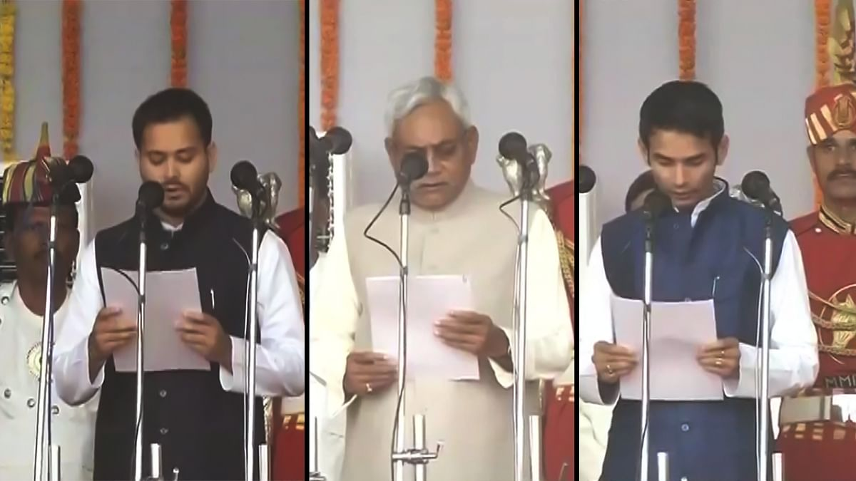 (From Left) Lalu Prasad Yadav's younger son, Tejaswi Yadav, Chief Minister Nitish Kumar, elder son, Tej Pratap Yadav at the swearing-in ceremony at Gandhi Maidan, Patna. (Photo Collage: <b>The Quint</b>)&nbsp;