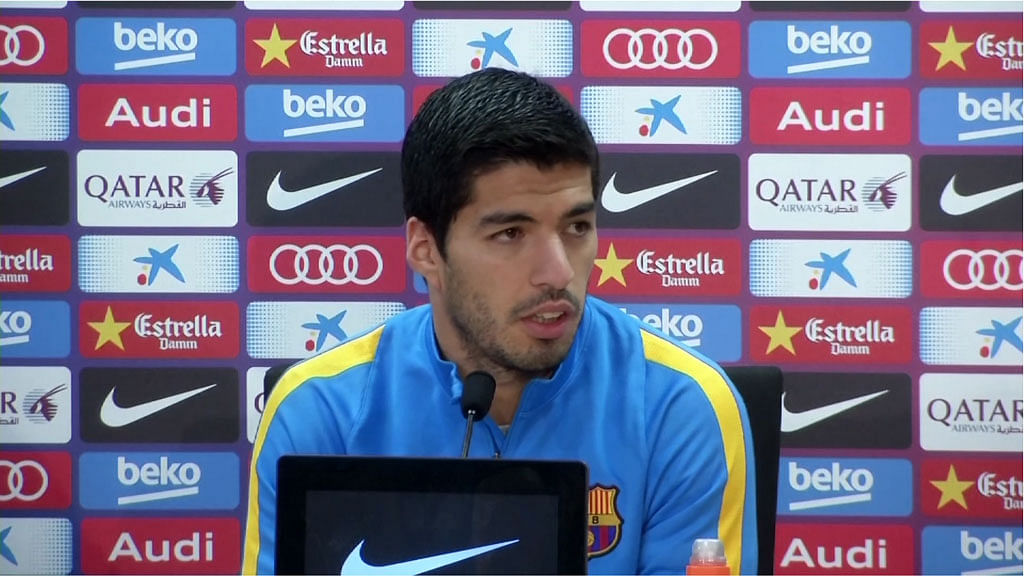 File picture of Luis Suarez at a press conference. (Photo: AP/SNTV)