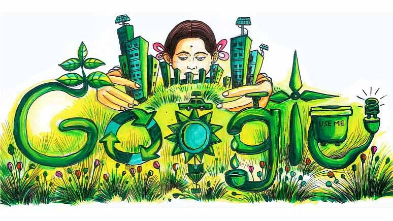"""Titled Green City Dream City, this creation explains everything. (Photo: <a href=""""http://www.google.co.in/doodle4google/gallery.html#g=g1"""">Google</a>)"""