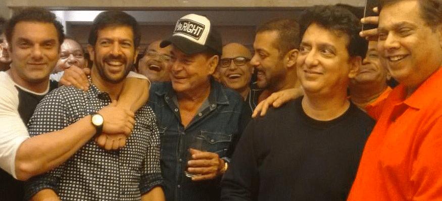 "Sohail Khan, Kabir Khan, Salim Khan, Salman Khan, Sajid Nadiadwala, David Dhawan pose for a pic (Photo courtesy: <a href=""https://twitter.com/search?f=images&amp;vertical=default&amp;q=%23SalimKhan%20%23birthday&amp;src=typd"">Twitter/FilmiAddicts</a>)"