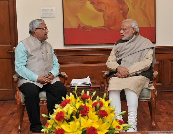 """P B Acharya with Prime Minister Narendra Modi. (Photo: <a href=""""https://twitter.com/PIB_India"""">PIB India's Twitter page</a>)"""