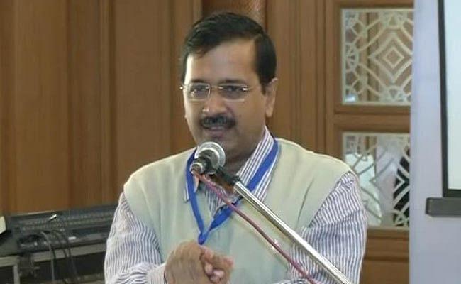 Arvind Kejriwal at a conference in Delhi.