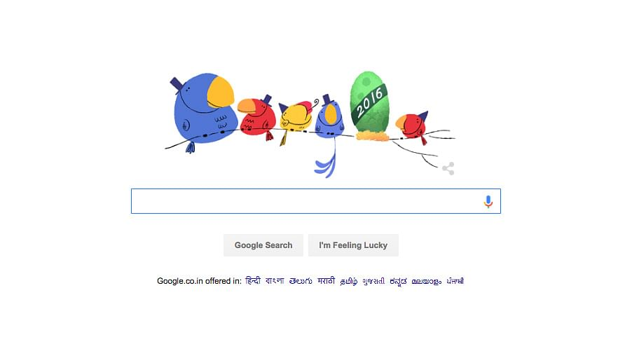 """Google Doodle marks the arrival of a new year. (Photo courtesy: <a href=""""https://www.google.co.in/webhp?hl=en&amp;ei=gJuEVtP7KsOZuQSy44S4DQ"""">Google.com</a>)"""