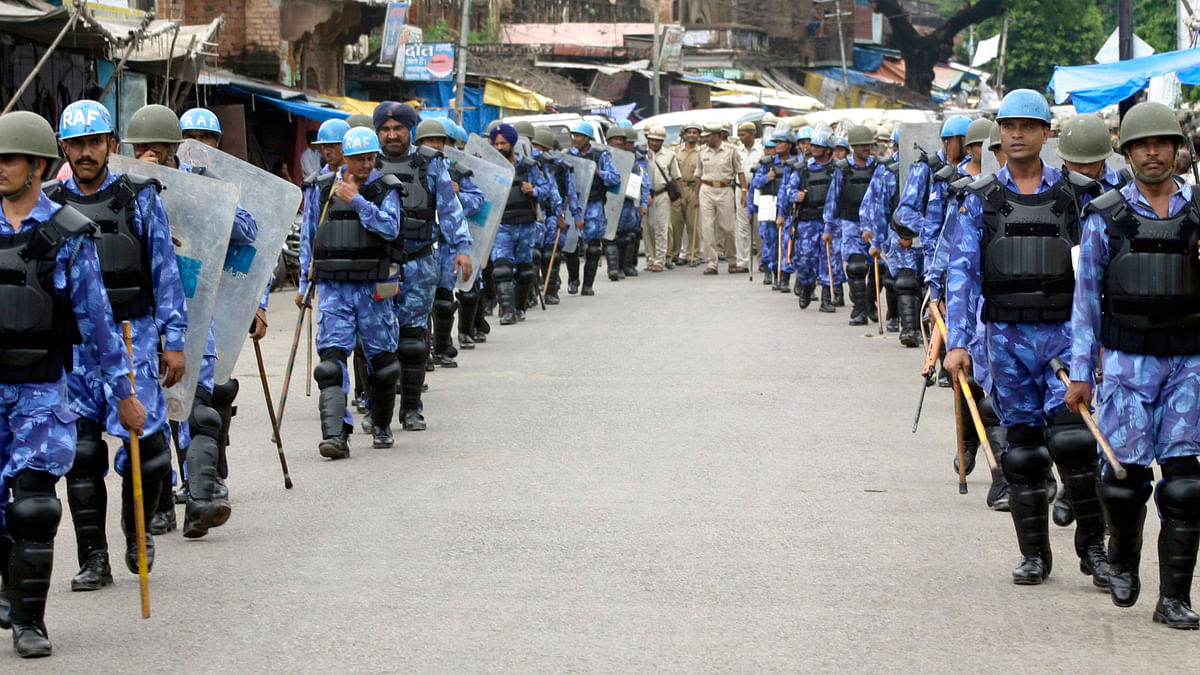 Rapid Action Force personnel on patrol in Ayodhya on the day the High Court pronounced its verdict. (Photo: Reuters)
