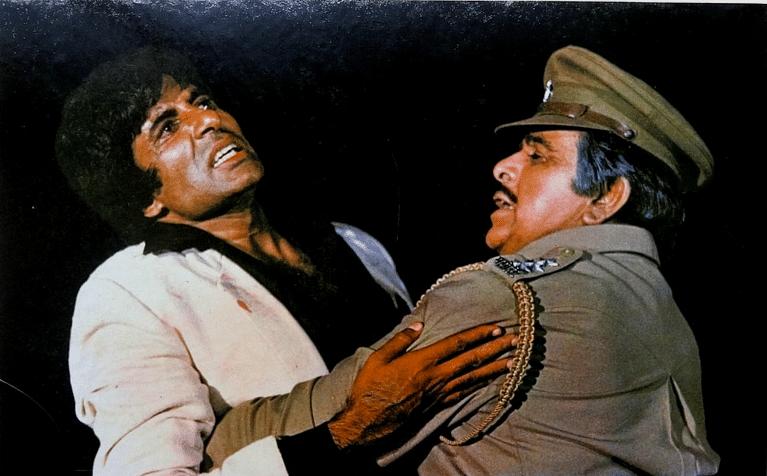 Dilip Kumar with Amitabh Bachchan in <i>Shakti.</i>