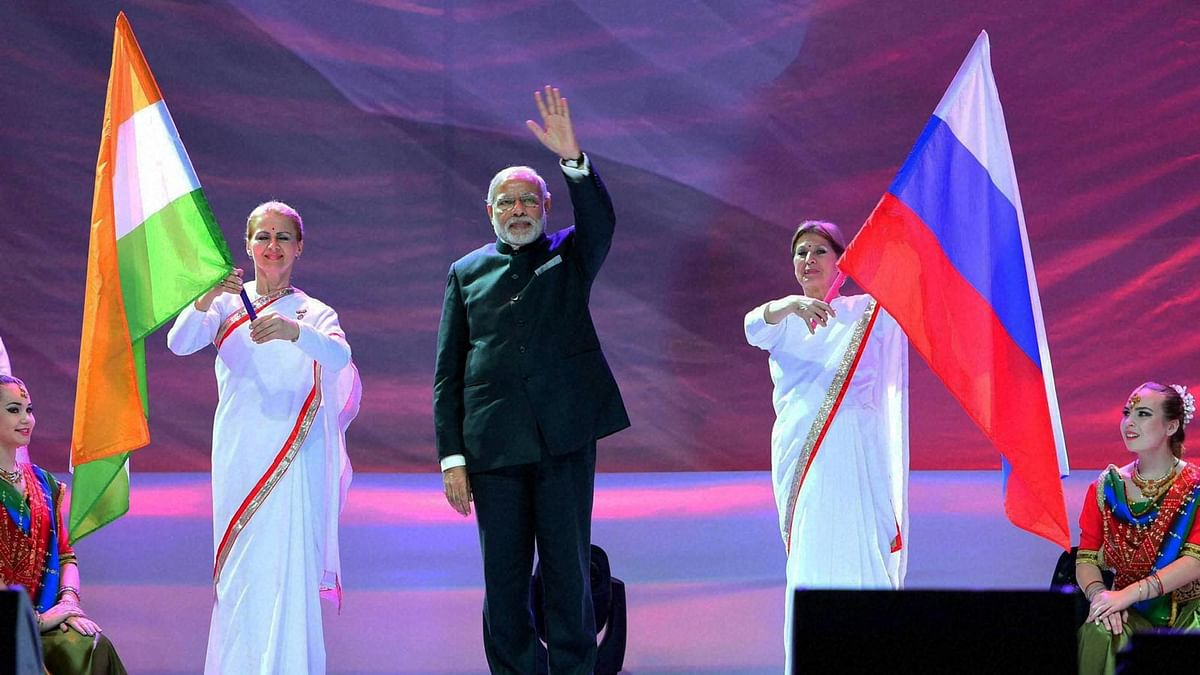 PM Modi at the Friends of India event on December 24 in Moscow, Russia. (Photo: PTI)