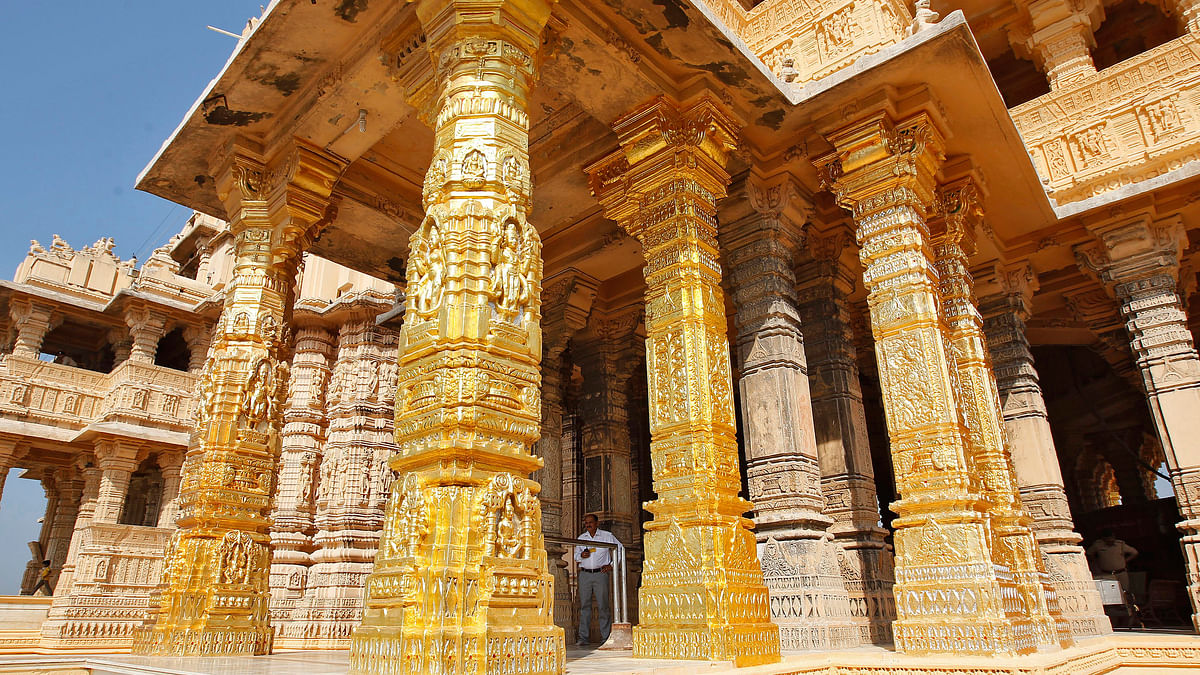 Gold-plated pillars of the Somnath Temple. (Photo: Reuters)