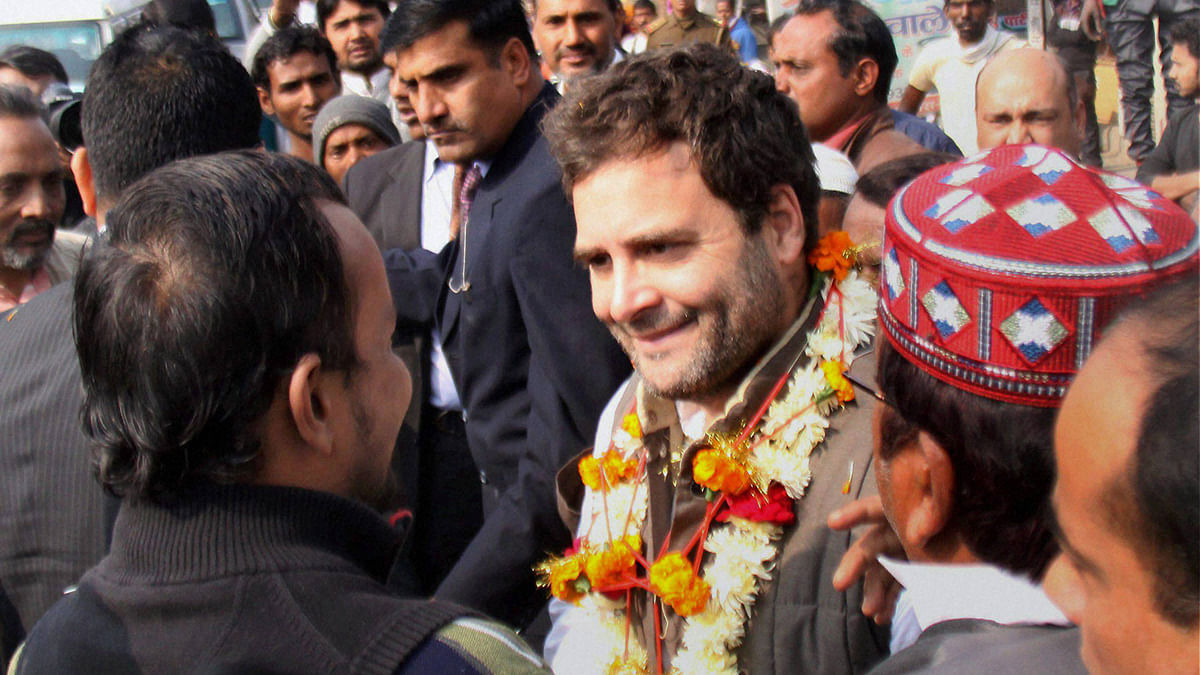 Congress Vice President Rahul Gandhi interacts with students during his visit to Amethi (Photo: PTI)