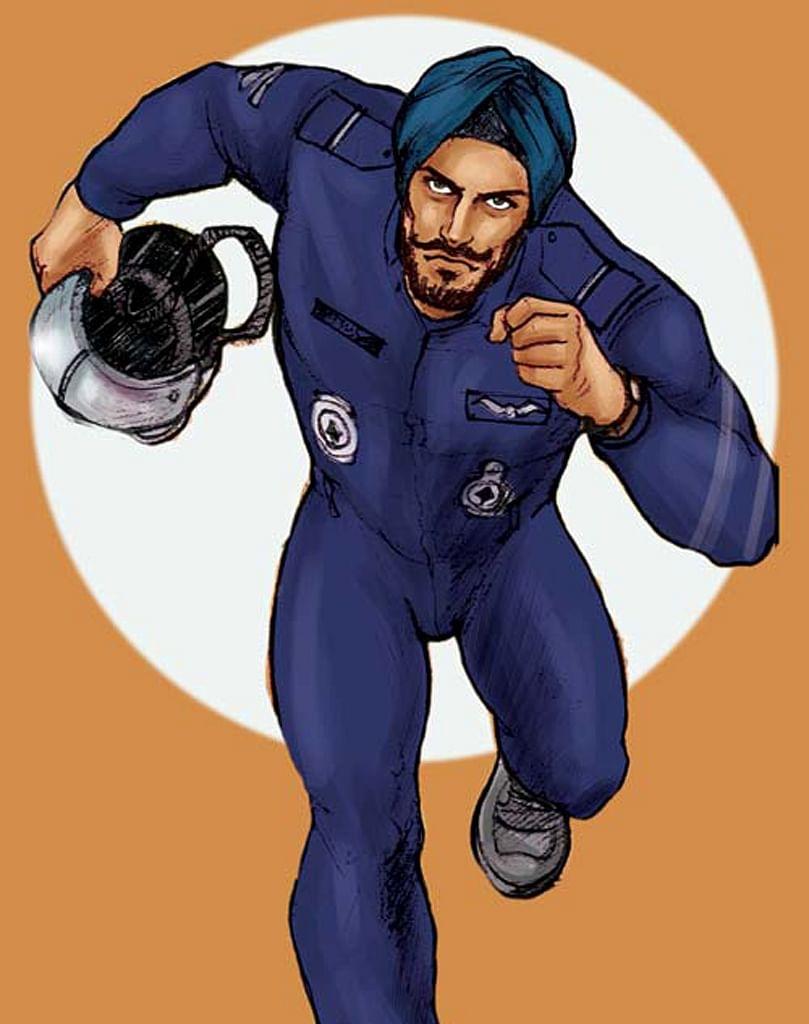 A still from <i>War Hero Comics </i>showing Flying Officer Nirmal Jit Singh Sekhon scrambling towards his Gnat to join the action.