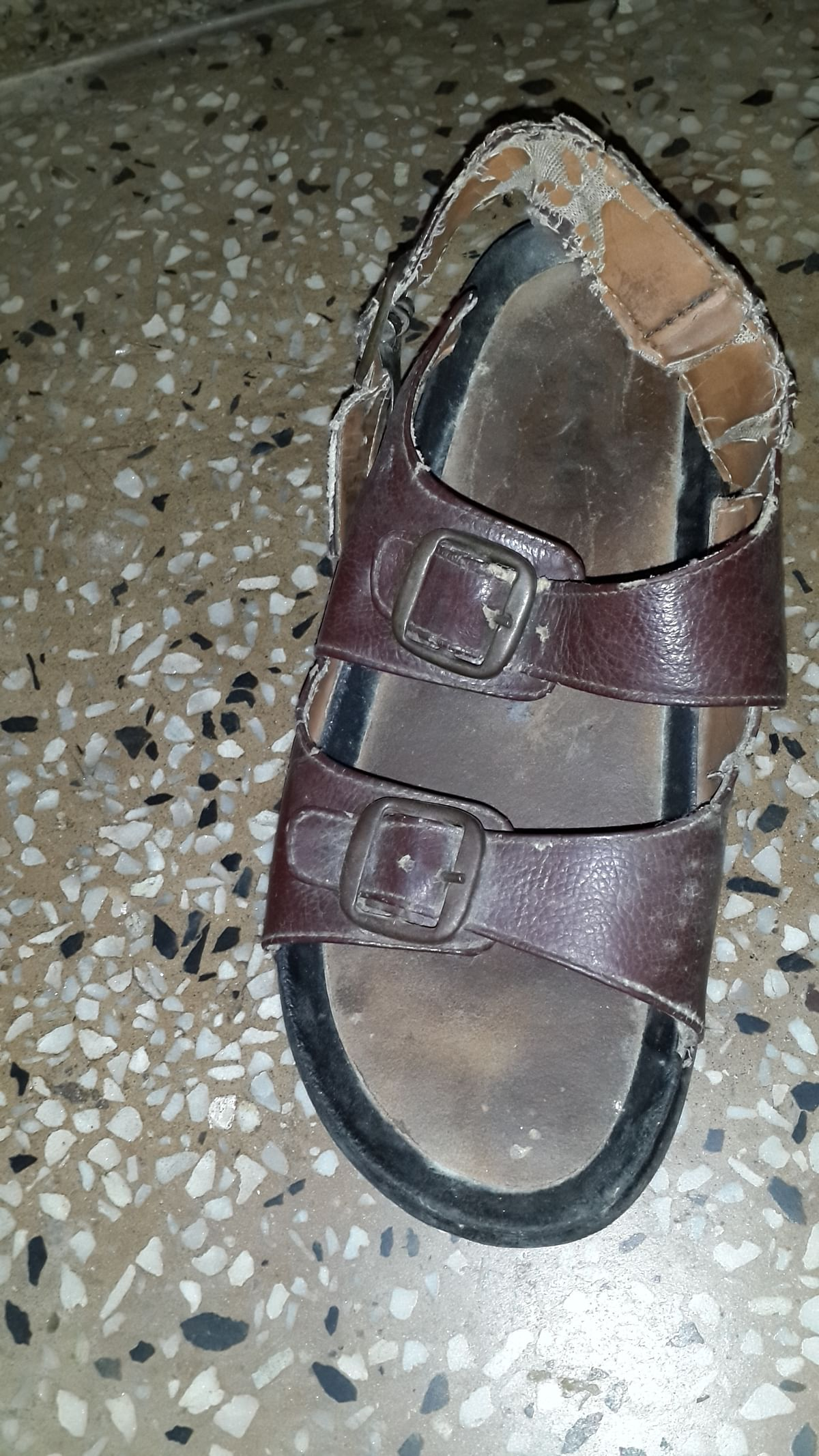 The much-contested pair of sandals. (Photo Courtesy: Sangeeta Murthi Sahgal)
