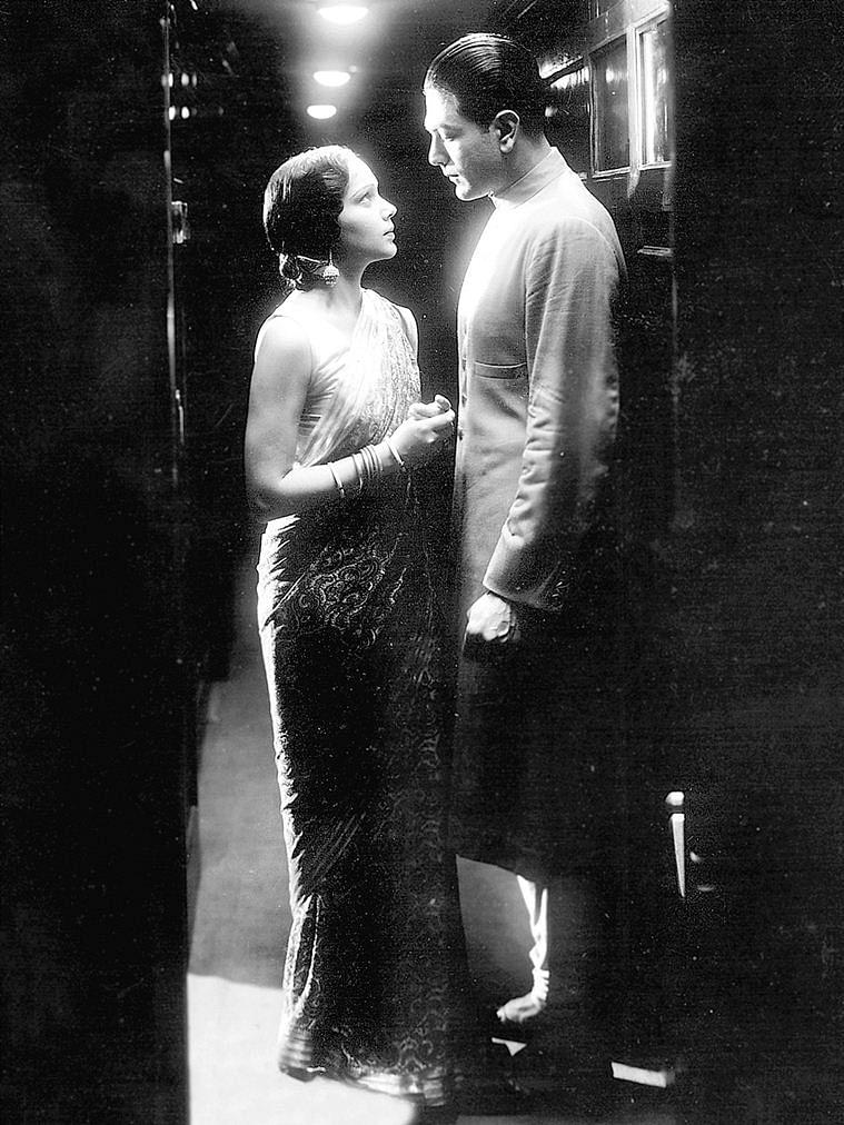 A still from Bombay Talkies' first film <i>Jawani Ki Hawa</i>, that started a torrid love affair bewteen Devika Rani and Najam-Ul-Hasan.