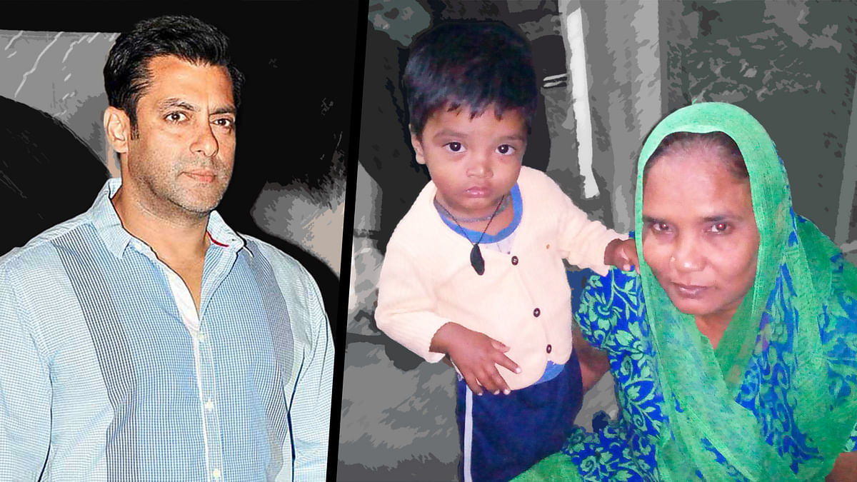 Salman Khan (left) and the victim's wife, Begum Jahan, with her grandchild (right). (Photo: Puja Changoiwala/<b>The Quint</b>)