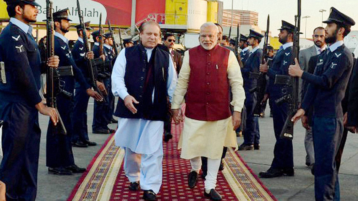 Narendra Modi and Nawaz Sharif seen during the former's December visit to Pakistan.  (Photo: PTI)