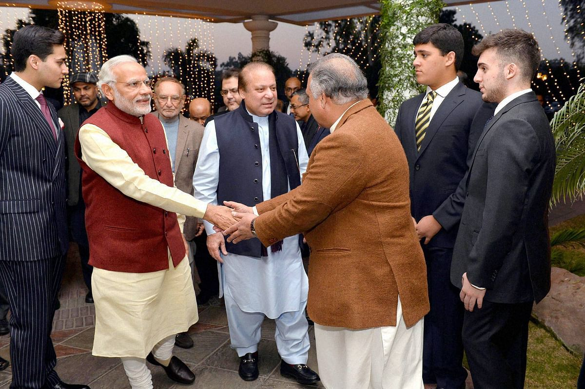 Prime Minister Narendra Modi being greeted at  Nawaz Sharif's palace in  Lahore. (Photo: PTI)
