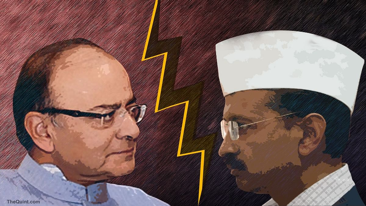 Finance Minister Arun Jaitley at the loggerheads with Kejriwal. (Photo: <b>The Quint</b>)