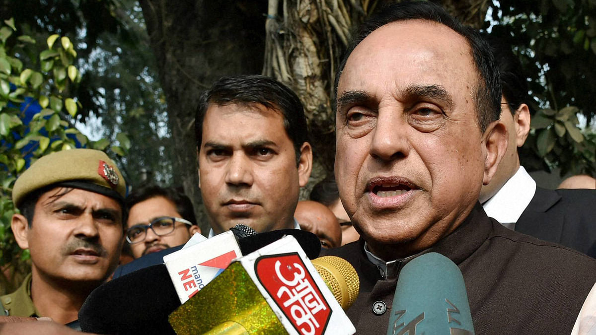 BJP leader Subramanian Swamy addressing to media outside Patiala house court in New Delhi (Photo: PTI)