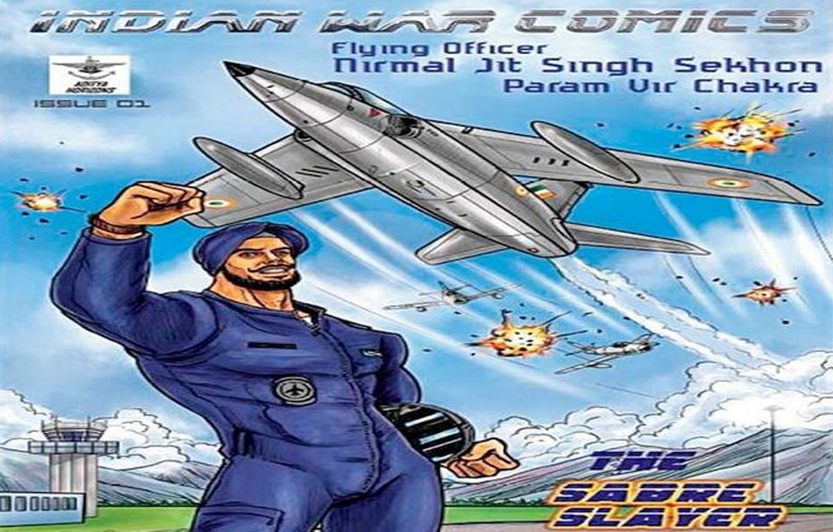 The cover of the issue of Indian War Comics that immortalises Flying Officer Nirmal Jit Singh Sekhon, the IAF's greatest war hero.