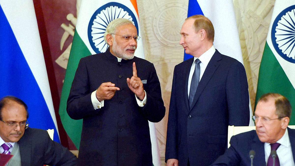 Prime Minister Modi and Russian President Vladimir Putin. (Photo: PTI)