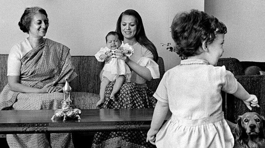 "Sonia Gandhi (centre) with Indira Gandhi (left), Rahul Gandhi and a baby Priyanka Gandhi. (Photo Courtesy: <a href=""http://www.indiragandhiuniversity.in/indiragandhi.html"">Indira Gandhi Technical University</a>)"