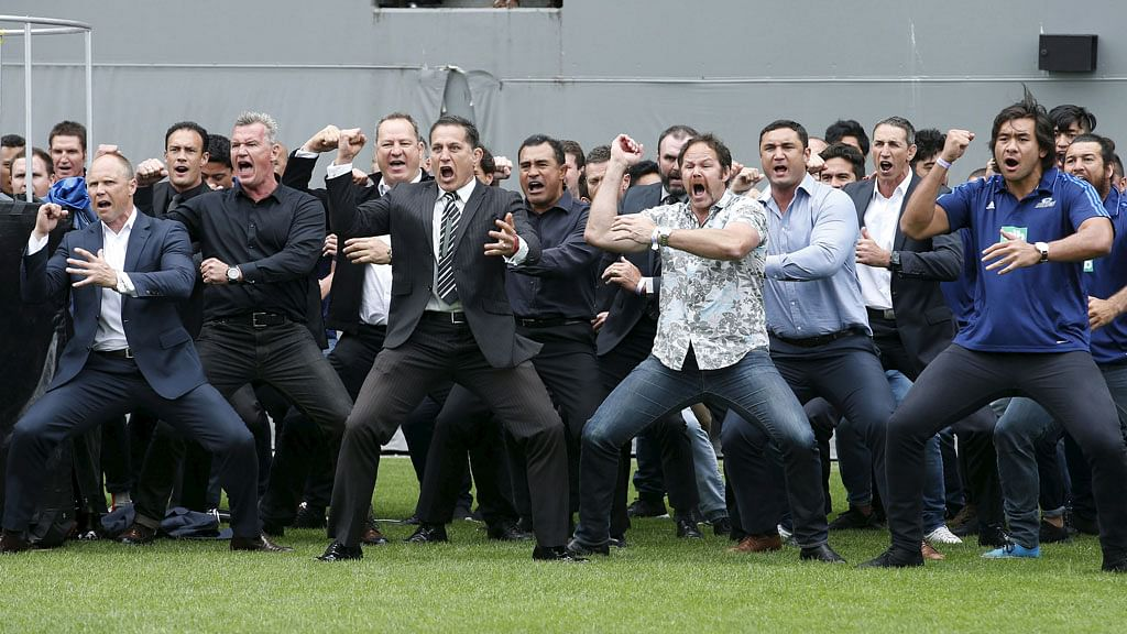 Former and present All Black's perform a Haka as former All Black Jonah Lomu's casket is carried out of Eden Park during his memorial service in Auckland, New Zealand on Monday. (Photo: Reuters)