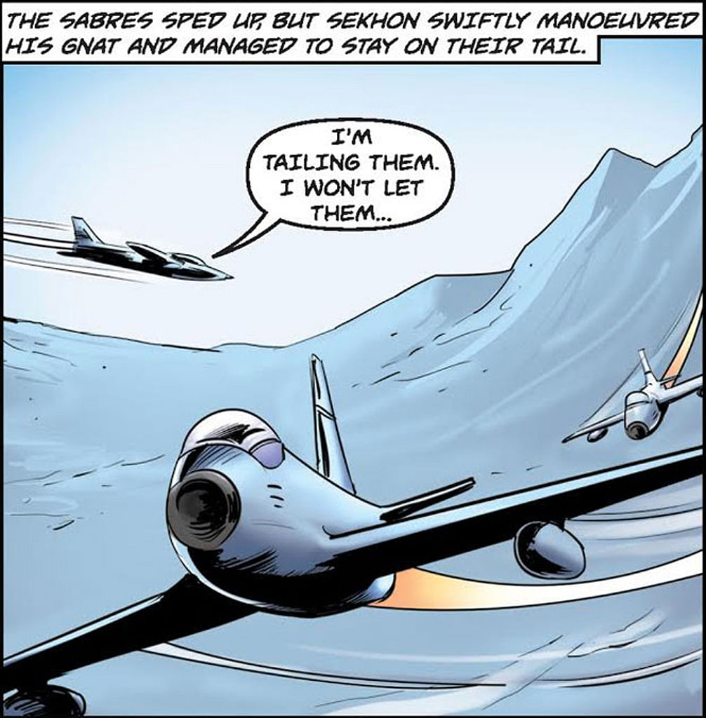 A panel from <i>War Hero Comics </i>showing 'Brother' Sekhon out-manoeuvring his Pakistani foes.