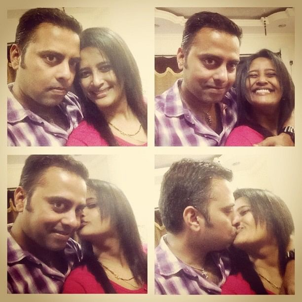 """Jyoti with her very supportive husband. She posted this picture on her FB page with the title, """"NO. Kissing DOES NOT transmit the virus.""""  (Photo courtesy: Facebook/<a href=""""https://www.facebook.com/mumbaiyya.gal"""">Jyoti Janak Dhawale</a>)"""
