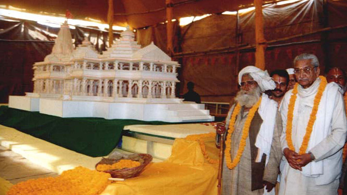 Models of the proposed Ram Temple were taken to religious conventions around the country by the VHP. (Photo: Reuters)