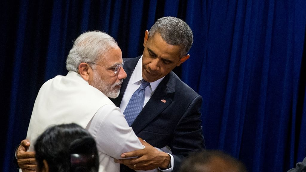 President Obama and PM Modi embrace following a bilateral meeting at United Nations headquarters. (Photo: AP)