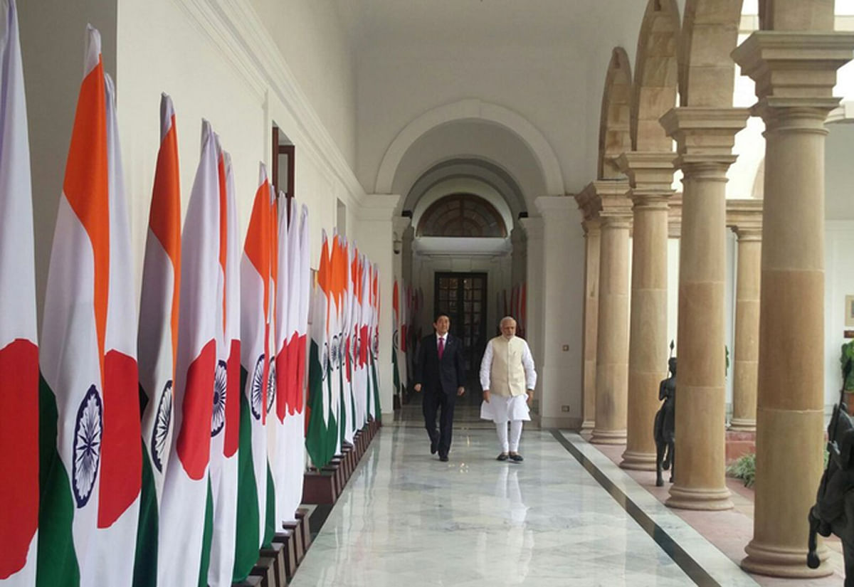 """Both the prime ministers at Hyderabad House in New Delhi (Photo: Twitter/<a href=""""https://twitter.com/MEAIndia"""">@<b>MEAIndia</b></a>)"""